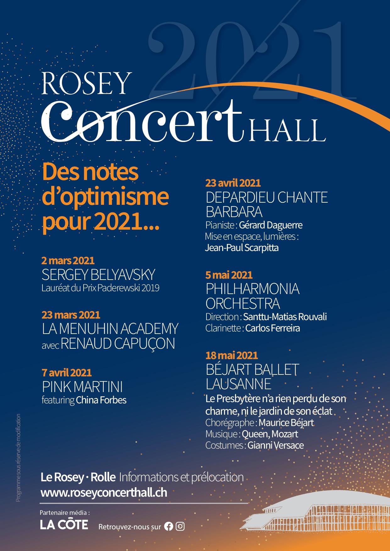 Rosey Concert Hall demi-saison 2020-21